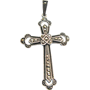 German Marcasite Cross Pendant Vintage Sterling Silver