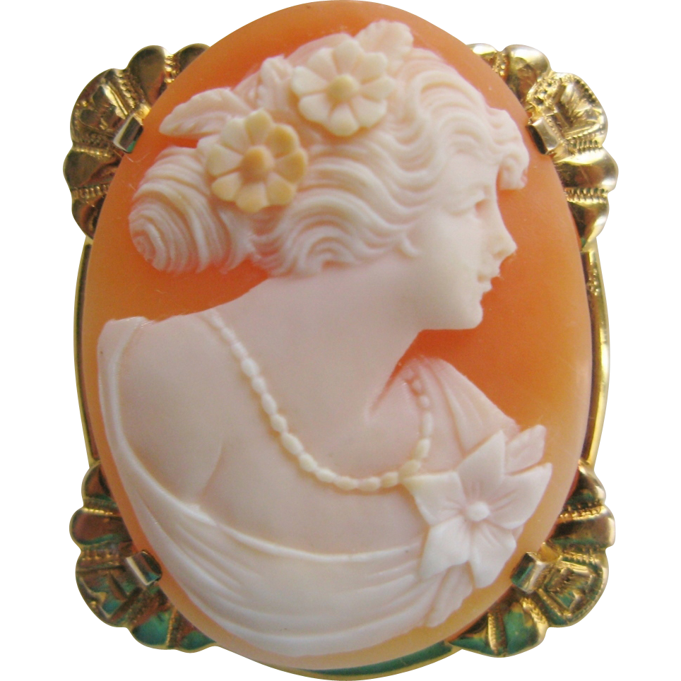 10K Gold Cameo Brooch of Beautiful Woman Vintage Carved Shell