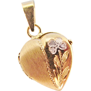 14K Gold Heart Locket Vintage Italian Yellow And White Gold Engraved Flower Small Pendant