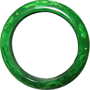 Vintage Bakelite Bracelet Marbled Green Bangle