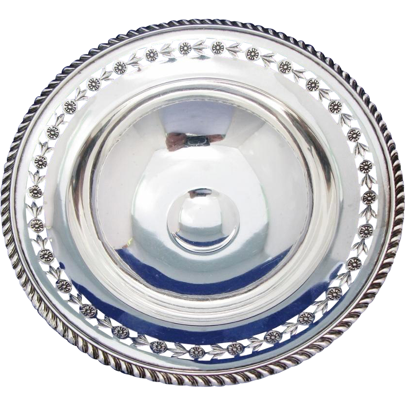 Vintage Ellis Birks Compote Sterling Silver 1935 Small Footed Dish With Pierced Floral Border And Gadroon Edge
