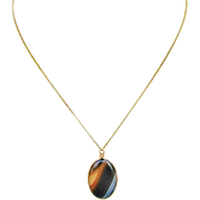 Vintage Banded Agate Pendant With 10K Gold Chain Necklace
