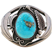 Vintage Signed Al Joe Bracelet Native American Navajo Turquoise Sterling Silver Large Cuff