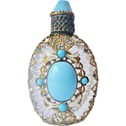 Vintage Czech Perfume Bottle Blue Glass Faux Jeweled Enameled Filigree