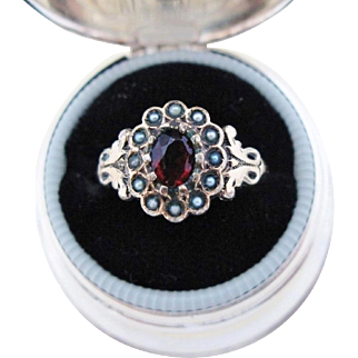 Antique Ring Seed Pearl Garnet Paste Ring 9K Gold Victorian Size 9.25