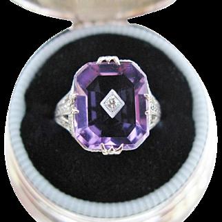 Art Deco Amethyst Diamond Ring Filigree 9K White Gold Vintage Size 5.25