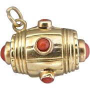 18K Gold Coral Charm Antique Victorian Keg Barrel