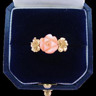 Vintage 14K Coral Ring Carved Angel Skin Rose Gold Hibiscus Flowers Signed Kamm Size 6