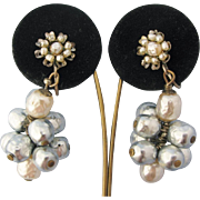 Miriam Haskell Vintage Earrings Faux Baroque Pearl Cluster Floral Drop Dangle Screw Backs