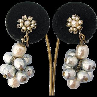 Miriam Haskell Vintage Earrings Faux Baroque Pearl Cluster Floral Drop Dangle Screw Backs