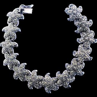 Starfish Link Bracelet Sterling Silver With Marcasites Vintage Sea Star