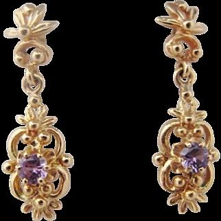 14K Amethyst Earrings Vintage Drop Dangle Gold Pierced
