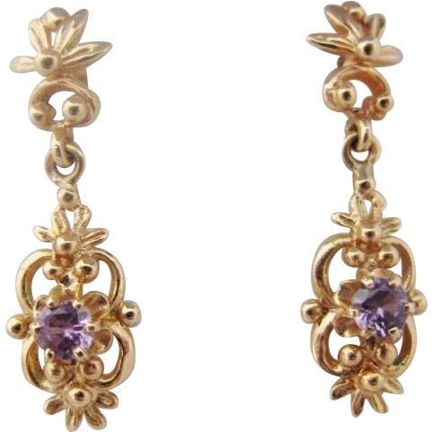 14K Amethyst Earrings Vintage Drop Dangle Gold Pierced
