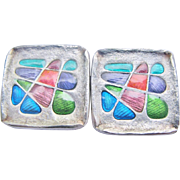 Signed Chinese Handcrafted Cufflinks Sterling Silver Enamel Cool Colorful Modernist