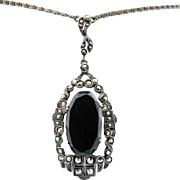 Art Deco Lavaliere Necklace 935 Silver French Jet, Marcasites, Sterling Pendant
