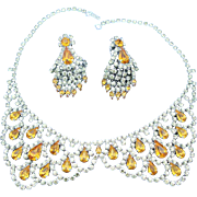 Signed Robert Original Collar Necklace And Drop Earring Set Vintage Lemon Yellow Golden Amber Rhinestones