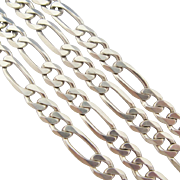 Sterling Silver Figaro Chain Necklace Italian Solid 24.5 Inch 925 Vintage Unisex