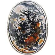 Moss Dendritic Agate Ring Sterling Silver Made in England Vintage Size 8.5