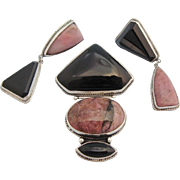 Darla N Nordstrom Demi Parure Mexico Sterling Silver Pink Rhodonite Black Brooch Pendant Earrings