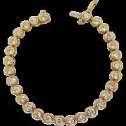10K Gold Crystal CZ Vintage Tennis Bracelet