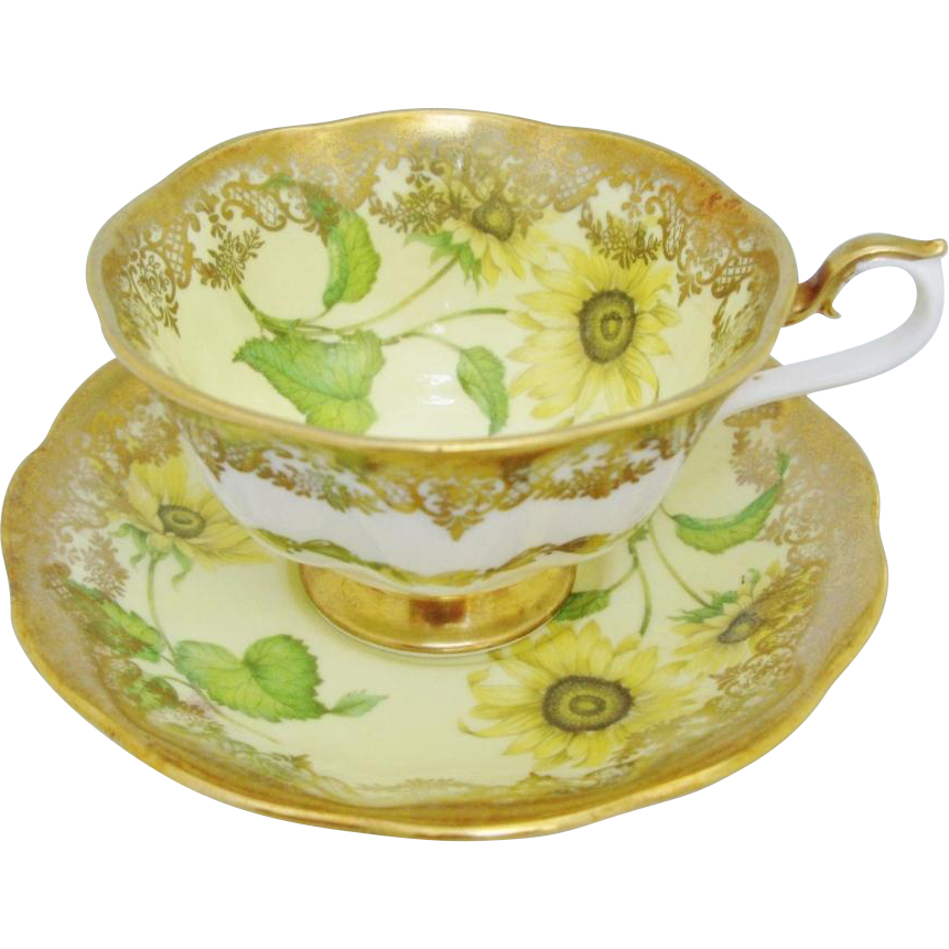 Royal Albert Sunflower Portrait Series Yellow Floral Tea Cup and Saucer