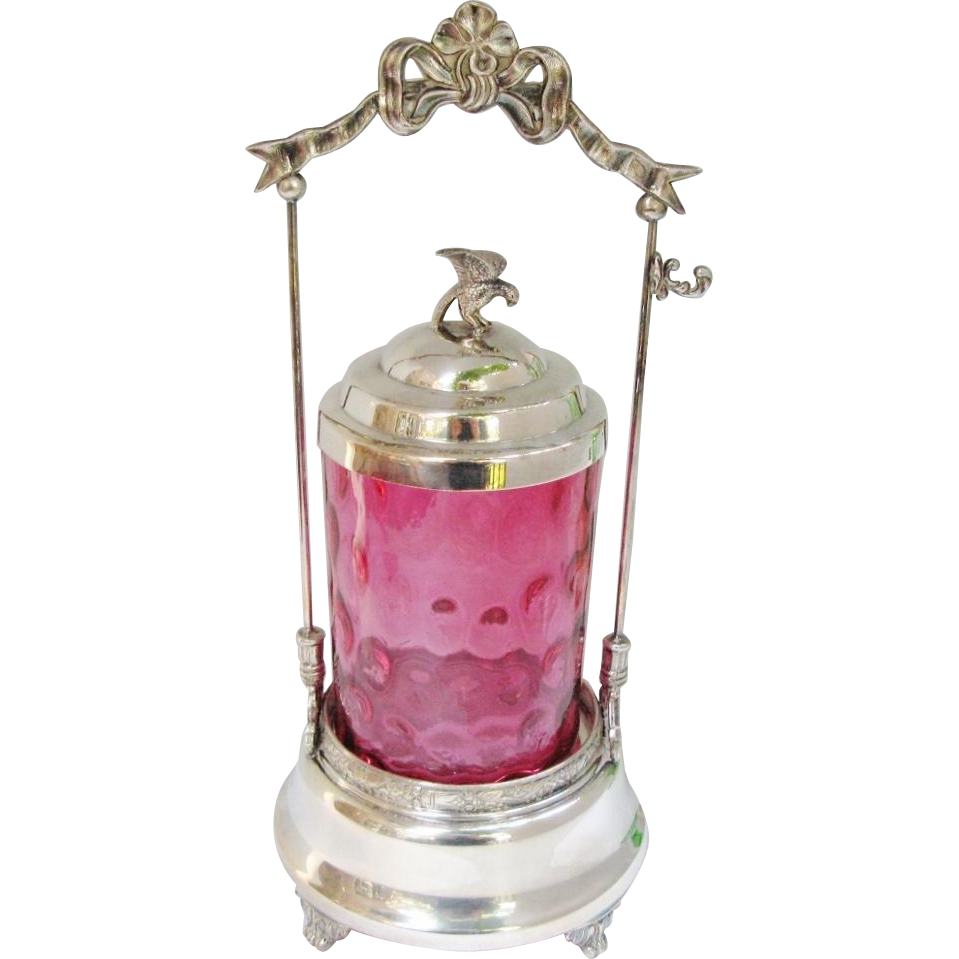 Antique Pickle Castor Inverted Thumbprint Cranberry Glass Rogers Silver Plate Stand