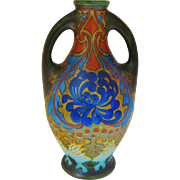 Gouda Double Handled Large Pottery Vase Hand Painted Art Nouveau Floral Sana Design