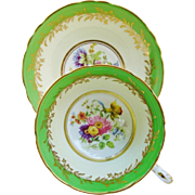 Vintage Paragon Cup And Saucer Green Gold Multi Colored Floral Teacup