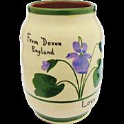 Torquay Devon Violets Mottoware Vase Watcombe Pottery