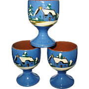 Torquay Mottoware Egg Cups Winter Cottage Scene Laid Today Blue Watcombe Pottery