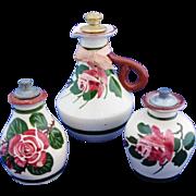Three Torquay Mottoware English Rose Vintage Pottery Scent Bottles