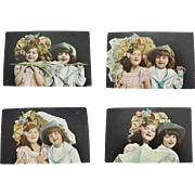 Four 1906 German Postcards Young Children With Umbrella