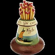 Torquay Mottoware Match Holder Ryde Isle of Wight Vintage Souvenir Pottery