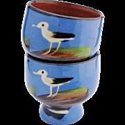 Pair Torquay Egg Cups Vintage Barton Pottery Blue Seagulls