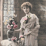 Vintage French Postcard Pretty Lady With Flowers Paris 1917