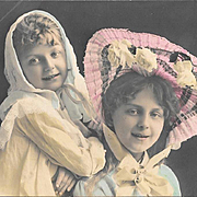 Two Pretty Girls Hand Tinted Real Photo Postcard RPPC 1908
