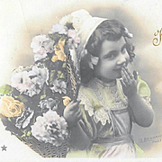 1906 French Happy Anniversary Postcard Girl With Flowers Blowing Kisses