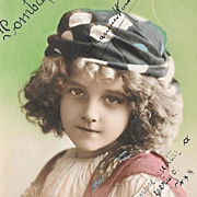 1913 Postcard Girl In Polka Dot Hat Traditional Costume
