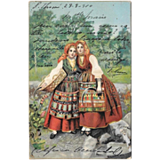 1910 German Postcard Women With Small Sythes In Traditional Costume