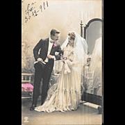 1911 Bride and Groom Wedding RPPC Real Photo Postcard