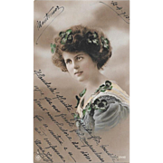 1913 Pretty Woman With Shamrocks Real Photo Postcard RPPC