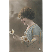 1917 French RPPC Woman With Daisies Real Photo Postcard