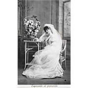 1906 RPPC Bride Waiting For The Promised Real Photo Postcard