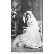 1907 RPPC Bride And Groom United For Life Real Photo Postcard