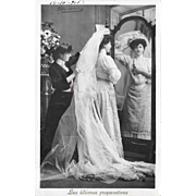 1906 RPPC Bride Last Preparations For Wedding Real Photo Postcard