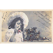 Hand Colored French Postcard Girl With Cherries