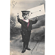 1906 RPPC Little Boy Big Letter Real Photo Postcard