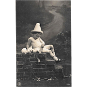 Edwardian RPPC Boy With Bunnies Real Photo Postcard
