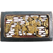 Antique Chinese Architectural Carved Wood Plaque
