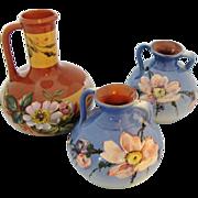 Torquay Pottery Floral Trio Pair Watcombe Vases Plus Pitcher